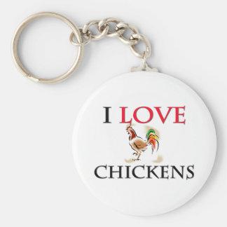 I Love Chickens Basic Round Button Keychain