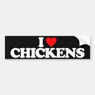I LOVE CHICKENS CAR BUMPER STICKER