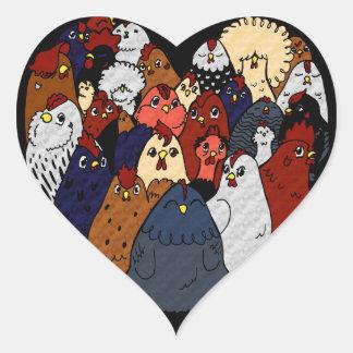 I Love Chickens Heart Sticker