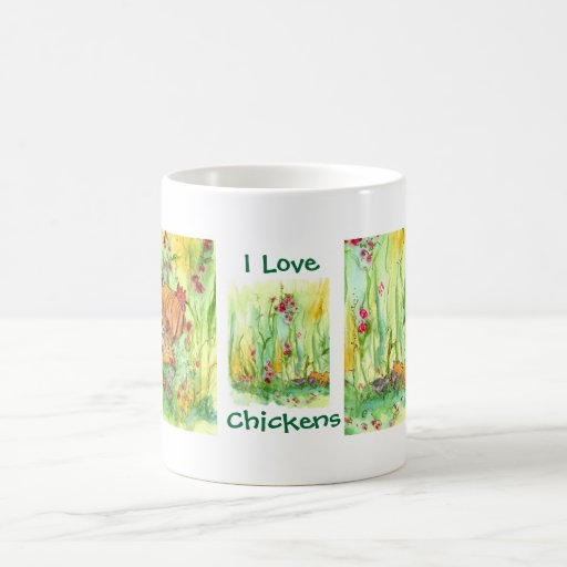 I Love Chickens Hen Rooster Chicks Watercolor Coffee Mug