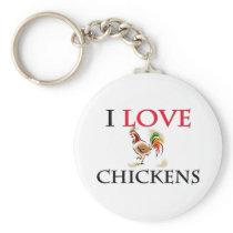 I Love Chickens Keychain
