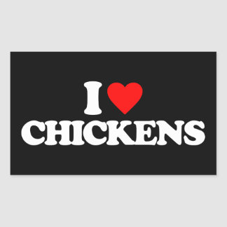 I LOVE CHICKENS RECTANGULAR STICKER