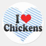 I Love Chickens Round Stickers