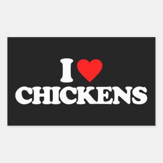 I LOVE CHICKENS RECTANGLE STICKER