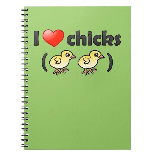I Love Chicks (birds) Spiral Note Books