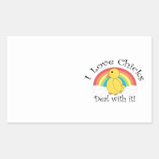 I love chicks deal with it rectangular sticker