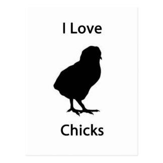 I love chicks postcard