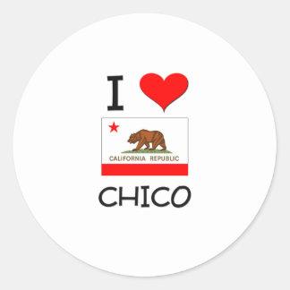 I Love CHICO California Round Stickers