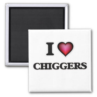 I Love Chiggers 2 Inch Square Magnet
