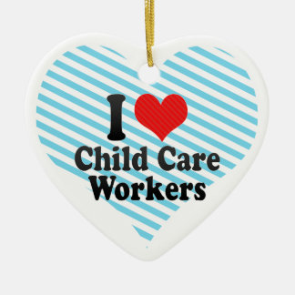I Love Child Care Workers Double-Sided Heart Ceramic Christmas Ornament
