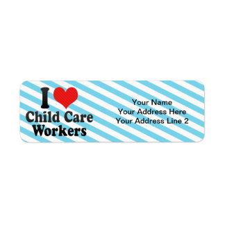 I Love Child Care Workers Return Address Label