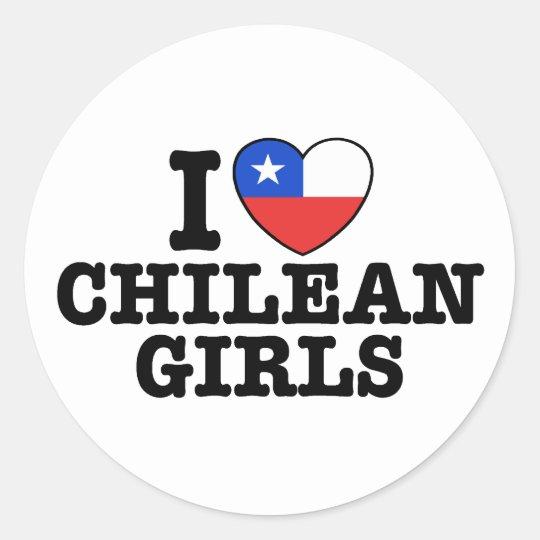 I Love Chilean Girls Classic Round Sticker