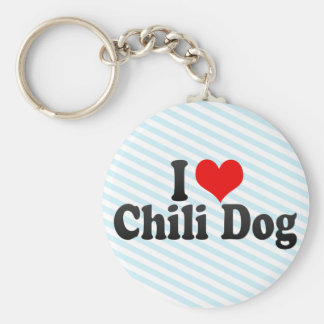 I Love Chili Dog Basic Round Button Keychain
