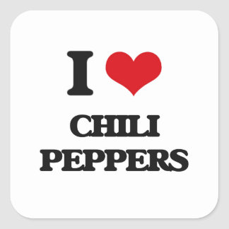 I love Chili Peppers Square Stickers