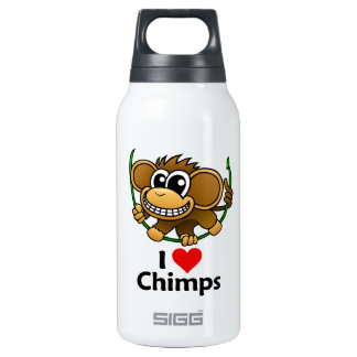 I Love Chimps Insulated Water Bottle