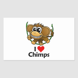 I Love Chimps Rectangular Stickers
