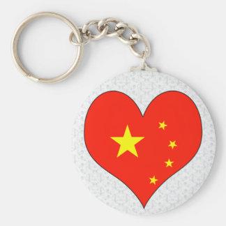 I Love China Basic Round Button Keychain