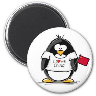I Love China Penguin Fridge Magnet