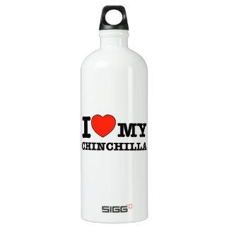 I Love chinchilla Aluminum Water Bottle