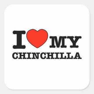 I Love chinchilla Square Sticker