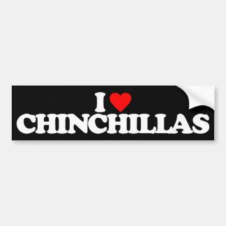 I LOVE CHINCHILLAS BUMPER STICKER
