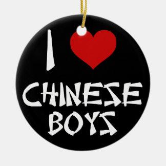 I Love Chinese Boys Ceramic Ornament