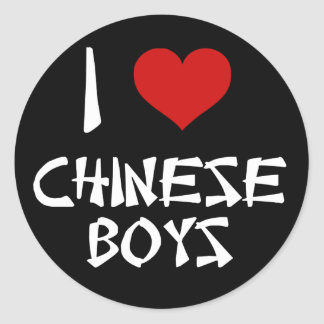 I Love Chinese Boys Classic Round Sticker