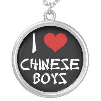 I Love Chinese Boys Round Pendant Necklace
