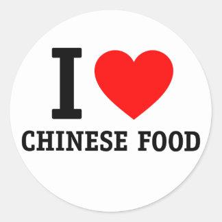 I Love Chinese Food Round Sticker