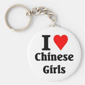 I love Chinese girls Basic Round Button Keychain