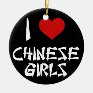I Love Chinese Girls Ceramic Ornament