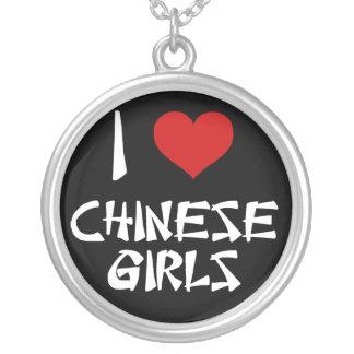 I Love Chinese Girls Round Pendant Necklace