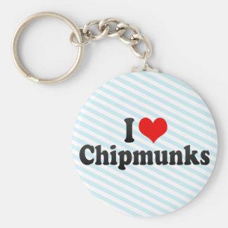 I Love Chipmunks Basic Round Button Keychain