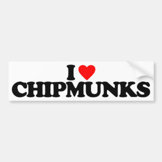 I LOVE CHIPMUNKS CAR BUMPER STICKER