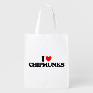 I LOVE CHIPMUNKS GROCERY BAG