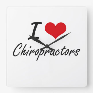 I love Chiropractors Square Wall Clock
