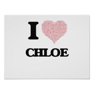 I love Chloe (heart made from words) design Poster