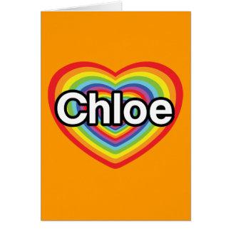 I love Chloe: rainbow heart Card
