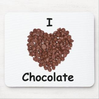 I Love chocolate, chocolate chip heart shape Mouse Pad