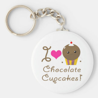 I Love Chocolate Cupcakes Basic Round Button Keychain
