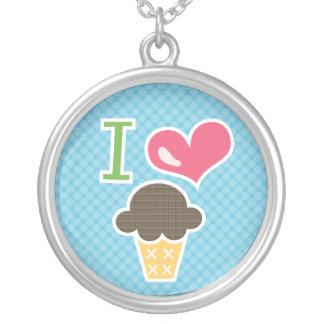 I Love Chocolate Ice Cream Necklace Blue