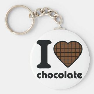 I love chocolate icon basic round button keychain