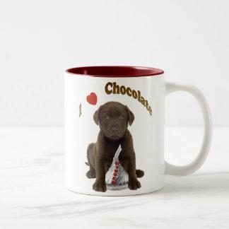 I Love Chocolate Kisses (Lab Puppy) Two-Tone Coffee Mug