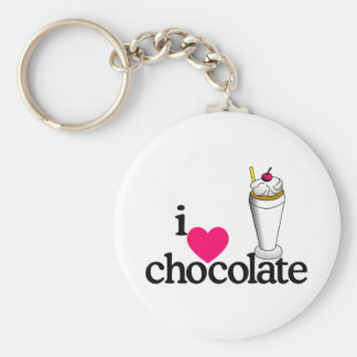 I Love Chocolate Malt Basic Round Button Keychain