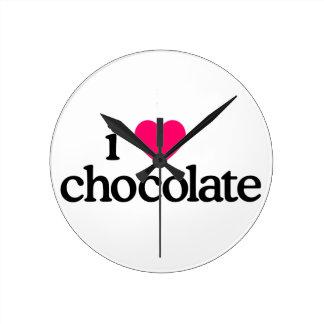 I Love Chocolate Round Clock