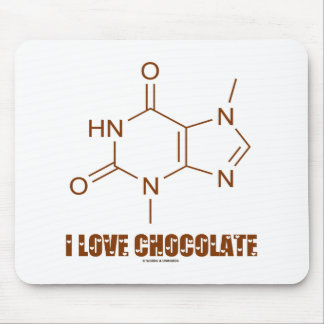 I Love Chocolate (Theobromine Chemical Molecule) Mouse Pad