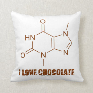 I Love Chocolate (Theobromine Chemical Molecule) Pillows