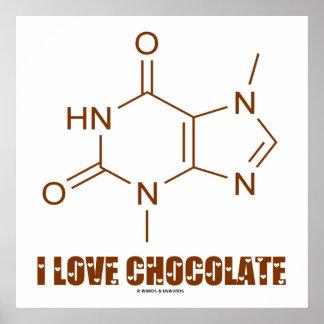I Love Chocolate (Theobromine Chemical Molecule) Poster