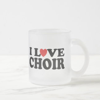 I Love Choir Frosted Glass Coffee Mug