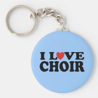 I Love Choir Basic Round Button Keychain